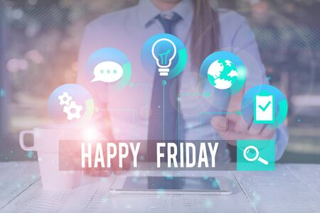 Handwriting text writing Happy Friday. Conceptual photo Greetings on Fridays because it is the end of the work week Female human wear formal work suit presenting presentation use smart device