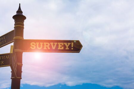 Conceptual hand writing showing Survey. Concept meaning research method used for collecting data from a predefined group Road sign on the crossroads with blue cloudy sky in the background