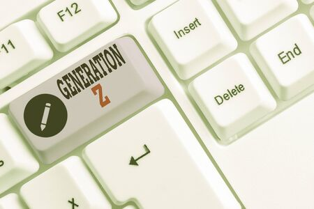 Text sign showing Generation Z. Business photo text name for the generation of children after the millennials White pc keyboard with empty note paper above white background key copy space
