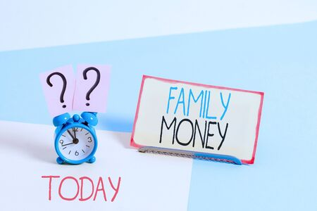 Text sign showing Family Money. Business photo showcasing the inherited wealth of established upperclass families Stock Photo
