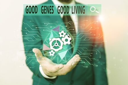 Word writing text Good Genes Good Living. Business photo showcasing Inherited Genetic results in Longevity Healthy Life Male human wear formal work suit presenting presentation using smart device