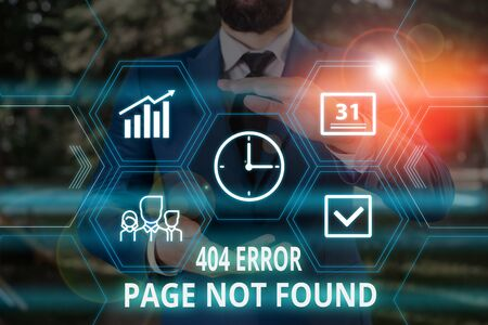 Word writing text 404 Error Page Not Found. Business photo showcasing Webpage on Server has been Removed or Moved Male human wear formal work suit presenting presentation using smart device