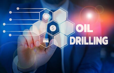 Conceptual hand writing showing Oil Drilling. Concept meaning involves the drilling and pumping of oil from underground wells Male wear formal suit presenting presentation smart device
