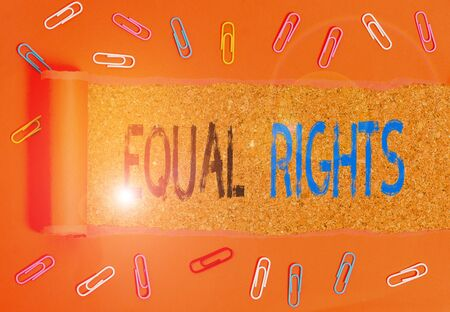 Writing note showing Equal Rights. Business concept for Equality before the law when all showing have the same rights