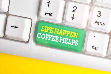 Writing note showing Life Happen Coffee Helps. Business concept for Have a hot drink when having problems troubles White pc keyboard with note paper above the white background Stock fotó