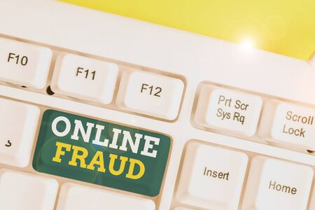 Word writing text Online Fraud. Business photo showcasing use of Internet services to deceive victims and steal money White pc keyboard with empty note paper above white background key copy space Stock Photo
