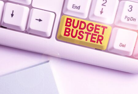 Writing note showing Budget Buster. Business concept for Carefree Spending Bargains Unnecessary Purchases Overspending White pc keyboard with note paper above the white background
