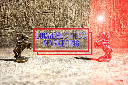 Text sign showing Local Business Marketing. Business photo showcasing Localized specification on Store characteristic Two Bronze Chess Pieces Knights Facing Each Other in Focus and Defocused