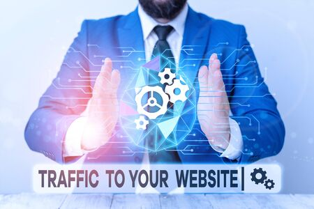 Text sign showing Traffic To Your Website. Business photo showcasing Lifeblood of online business more Potential Leads Male human wear formal work suit presenting presentation using smart device