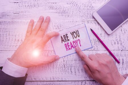 Writing note showing Are You Ready Question. Business concept for Setting oneself on the activity Being Prepared Stock Photo
