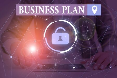 Text sign showing Business Plan. Business photo text Structural Strategy Goals and Objectives Financial Projections Woman wear formal work suit presenting presentation using smart device