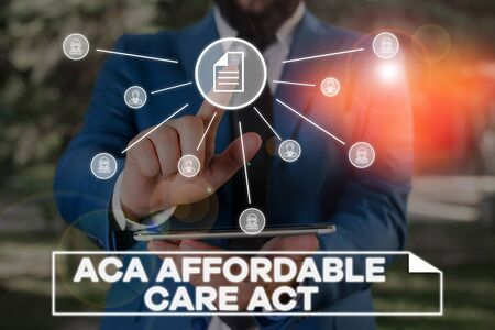 Handwriting text writing Aca Affordable Care Act. Conceptual photo providing cheap treatment to patient several places Male human wear formal work suit presenting presentation using smart device