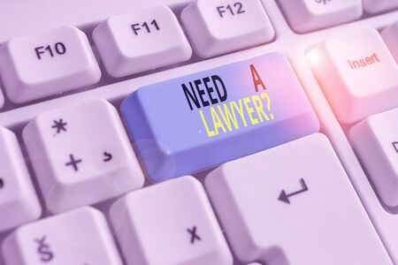 Text sign showing Need A Lawyer Question. Business photo showcasing Legal problem Looking for help from an attorney White pc keyboard with empty note paper above white background key copy space 스톡 콘텐츠