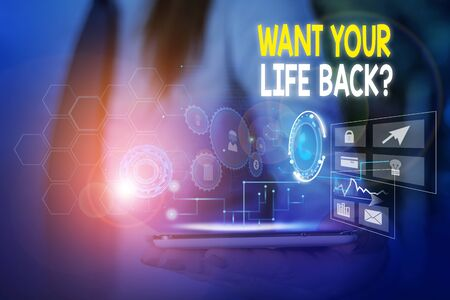 Word writing text Want Your Life Back Question. Business photo showcasing Have again our Lives Take Control of our Being Woman wear formal work suit presenting presentation using smart device