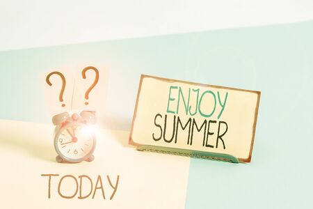 Text sign showing Enjoy Summer. Business photo showcasing taking a break from school and spending holidays in the beach