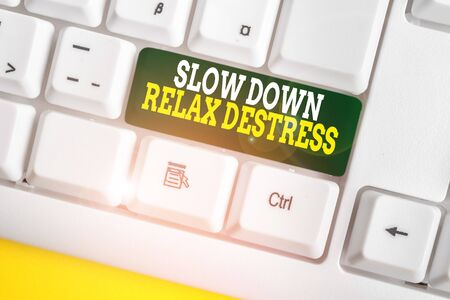 Writing note showing Slow Down Relax Destress. Business concept for calming bring happiness and put you in good mood White pc keyboard with note paper above the white background