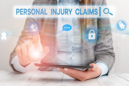 Text sign showing Personal Injury Claims. Business photo showcasing being hurt or injured inside work environment Female human wear formal work suit presenting presentation use smart device