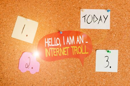 Word writing text Hello I Am An Internet Troll. Business photo showcasing Social media troubles discussions arguments Corkboard color size paper pin thumbtack tack sheet billboard notice board