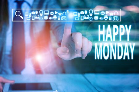 Writing note showing Happy Monday. Business concept for telling that demonstrating order to wish him great new work week Woman wear formal work suit presenting presentation using smart device Archivio Fotografico - 131449061
