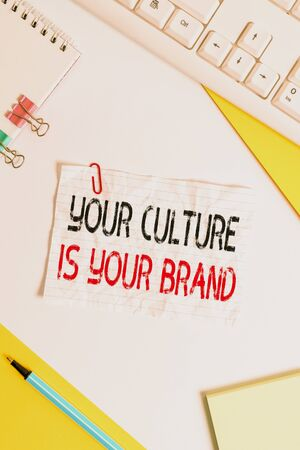 Word writing text Your Culture Is Your Brand. Business photo showcasing Knowledge Experiences are a presentation card Flat lay above table with pc keyboard and copy space paper for text messages 免版税图像