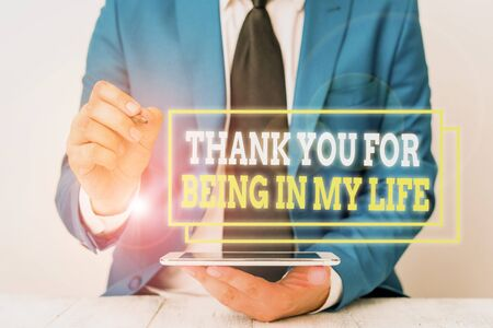 Conceptual hand writing showing Thank You For Being In My Life. Concept meaning loving someone for being by your side Businessman pointing with pen in empty copy space Stock fotó