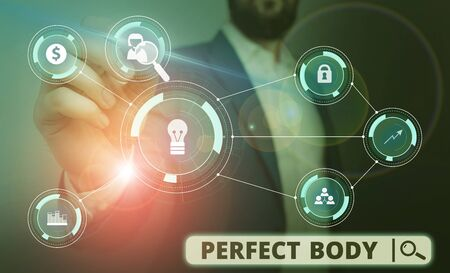 Word writing text Perfect Body. Business photo showcasing Having a body that is dreamily in shape and in healthy state Male human wear formal work suit presenting presentation using smart device Фото со стока