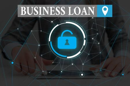 Text sign showing Business Loan. Business photo text Credit Mortgage Financial Assistance Cash Advances Debt Woman wear formal work suit presenting presentation using smart device