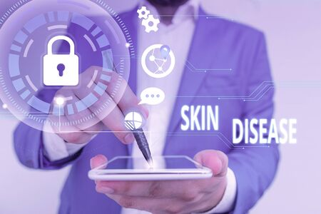 Handwriting text Skin Disease. Conceptual photo any of the diseases or disorders that affect the huanalysis skin Male human wear formal work suit presenting presentation using smart device