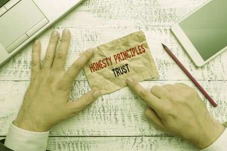 Word writing text Honesty Principles Trust. Business photo showcasing believing someone words for granted Telling truth