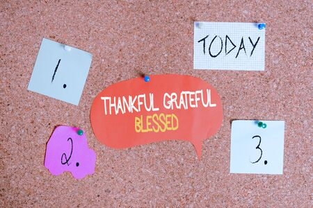 Word writing text Thankful Grateful Blessed. Business photo showcasing Appreciation gratitude good mood attitude Corkboard color size paper pin thumbtack tack sheet billboard notice board