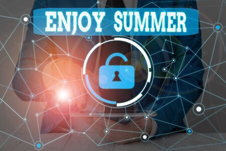 Text sign showing Enjoy Summer. Business photo showcasing taking a break from school and spending holidays in the beach Male human wear formal work suit presenting presentation using smart device