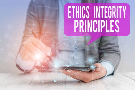 Word writing text Ethics Integrity Principles. Business photo showcasing quality of being honest and having strong moral Female human wear formal work suit presenting presentation use smart device
