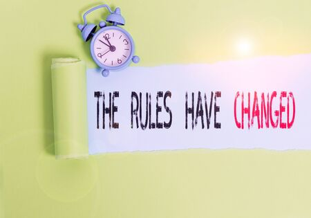 Conceptual hand writing showing The Rules Have Changed. Concept meaning the agreement or Policy has a new set of comanalysisds