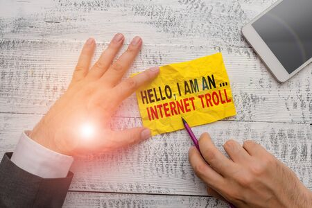 Text sign showing Hello I Am An Internet Troll. Business photo showcasing Social media troubles discussions arguments