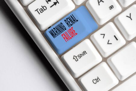 Writing note showing Warning Renal Failure. Business concept for stop Filtering Excess Waste Acute Kidney malfunction White pc keyboard with note paper above the white background Stock fotó