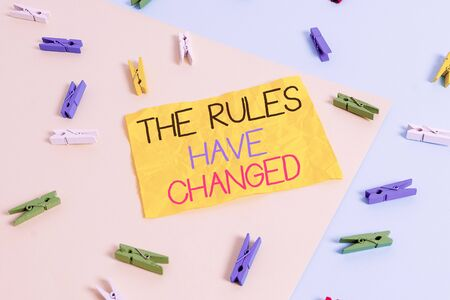 Handwriting text writing The Rules Have Changed. Conceptual photo the agreement or Policy has a new set of comanalysisds Colored clothespin paper empty reminder yellow blue floor background office