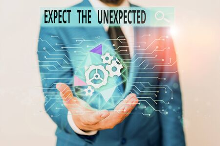 Word writing text Expect The Unexpected. Business photo showcasing Anything can Happen Consider all Possible Events Male human wear formal work suit presenting presentation using smart device 版權商用圖片