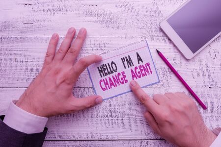 Writing note showing Hello I M A Change Agent. Business concept for Promoting and enabling difference evolution new Stok Fotoğraf