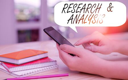 Conceptual hand writing showing Research And Analysis. Concept meaning Strategic Thinking and Decision Making existing or new woman using smartphone and technological devices inside the home Stok Fotoğraf