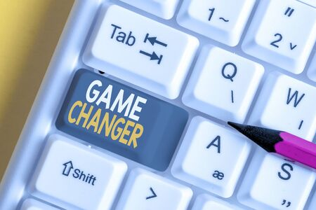 Conceptual hand writing showing Game Changer. Concept meaning way that effects a major shift in the current analysisner of doing White pc keyboard with note paper above the white background