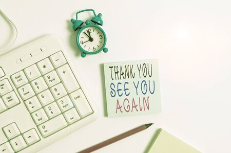 Conceptual hand writing showing Thank You See You Again. Concept meaning Appreciation Gratitude Thanks I will be back soon Keyboard with empty note paper and pencil white background