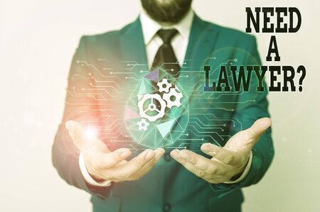 Writing note showing Need A Lawyer Question. Business concept for Legal problem Looking for help from an attorney Male human wear formal suit presenting using smart device