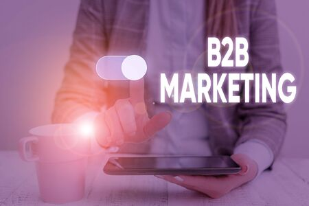 Handwriting text B2B Marketing. Conceptual photo Partnership Companies Supply Chain Merger Leads Resell Woman wear formal work suit presenting presentation using smart device 스톡 콘텐츠