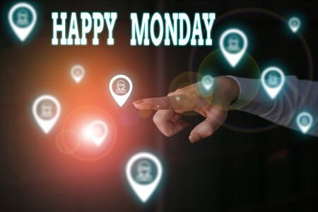 Writing note showing Happy Monday. Business concept for telling that demonstrating order to wish him great new work week Woman wear formal work suit presenting presentation using smart device Archivio Fotografico - 131452270