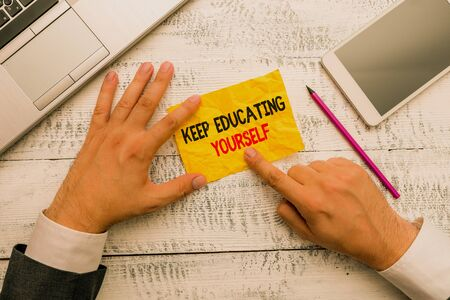 Word writing text Keep Educating Yourself. Business photo showcasing dont stop studying Improve yourself using Courses