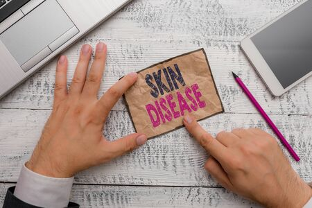 Word writing text Skin Disease. Business photo showcasing any of the diseases or disorders that affect the huanalysis skin