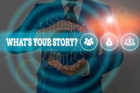 Handwriting text writing What S Your Story Question. Conceptual photo Relate Something About Yourself Any Updates Male human wear formal work suit presenting presentation using smart device 版權商用圖片