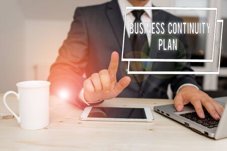 Word writing text Business Continuity Plan. Business photo showcasing creating systems prevention deal potential threats