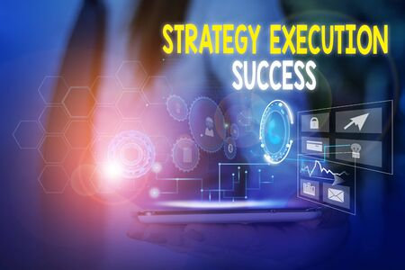 Word writing text Strategy Execution Success. Business photo showcasing putting plan or list and start doing it well Woman wear formal work suit presenting presentation using smart device Stok Fotoğraf