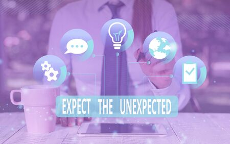 Text sign showing Expect The Unexpected. Business photo text Anything can Happen Consider all Possible Events Female human wear formal work suit presenting presentation use smart device 版權商用圖片